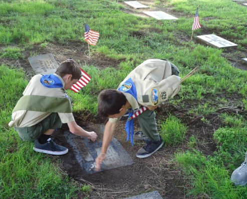 El Camino Memorial Park Flag Placement - May 2013